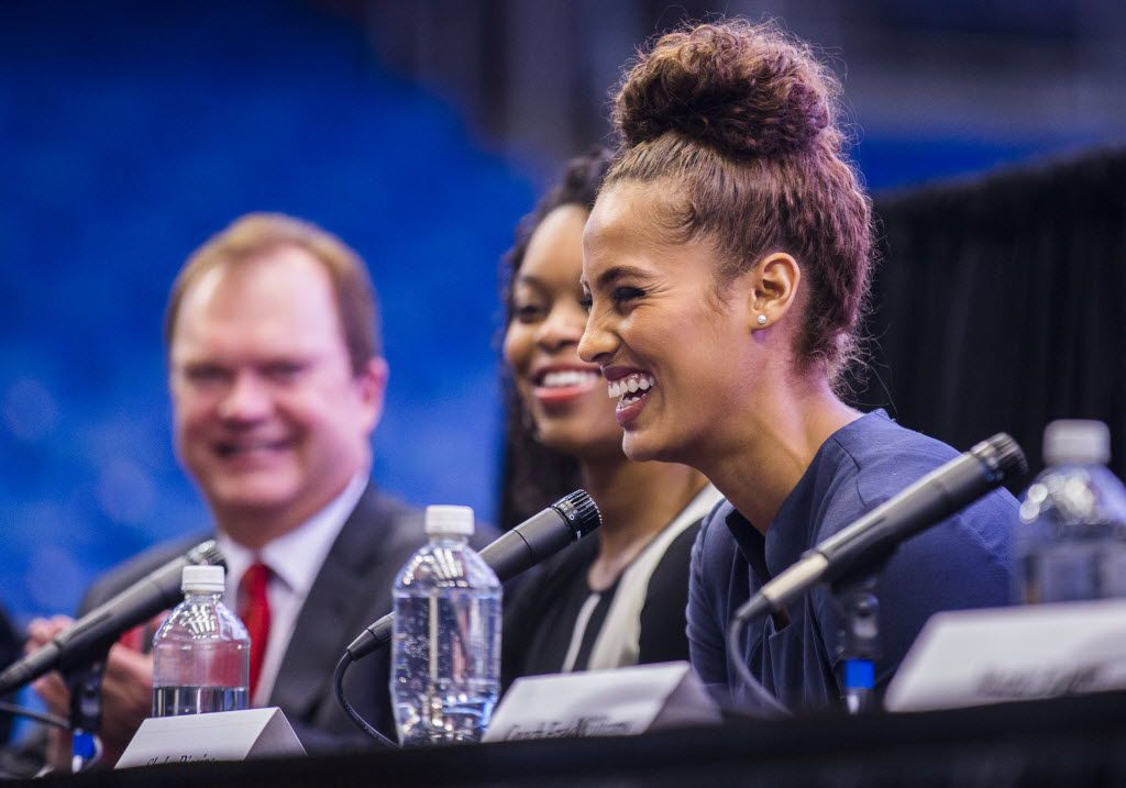 WNBA player Skylar Diggins laughs during a press conference unveiling the name and logo of the Dallas Wings, a new WNBA team, on Monday, November 2, 2015 at College Park Center on the campus of the University of Texas at Arlington in Arlington, Texas.  The Dallas Wings season debut will be May 16, 2016.  The team is formerly the Tulsa Shock. (Ashley Landis/The Dallas Morning News)