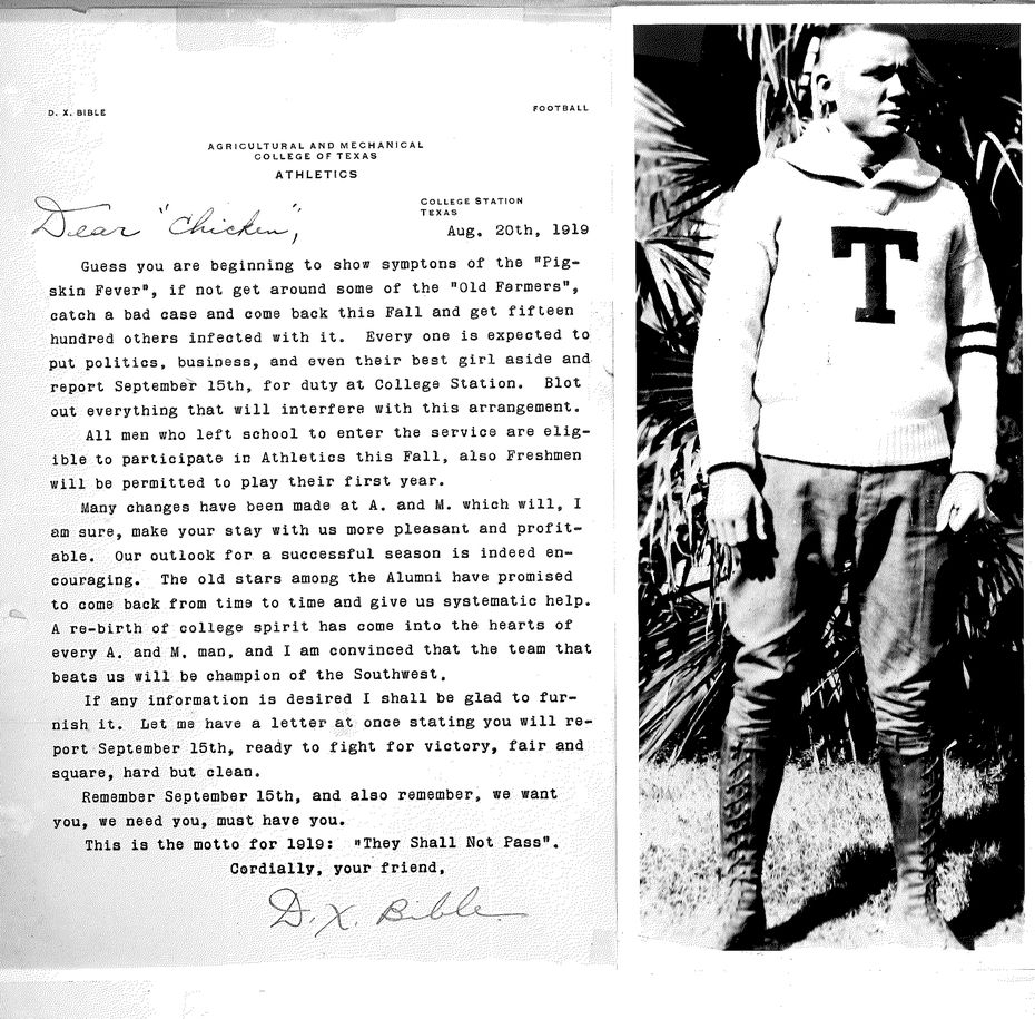 "A letter from D.X. Bible and photo of ""Chick"" Harrison. Texas A&M player Richard Henry ""Chick"" Harrison played for the Aggies in 1917, left for World War I, and was then summoned back in a letter by legendary coach D.X. Bible. Harrison had also suffered from the Spanish Flu."