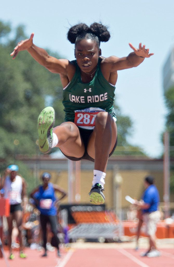 Mansfield Lake Ridge's Jasmine Moore takes a jump during the 5A girls long jump during the UIL state track meet at the Mike A. Myers Stadium, at the University of Texas on May 12, 2017 in Austin, Texas. (Thao Nguyen/Special Contributor)