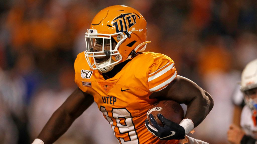 UTEP running back Treyvon Hughes carries during the second half of an NCAA football game against Houston Baptist on Saturday, Aug. 31, 2019 in El Paso, Texas.