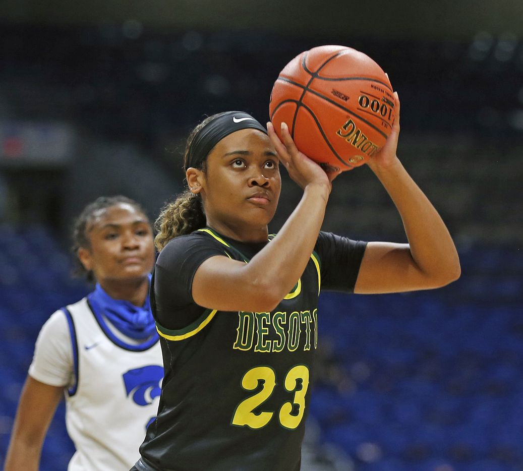 DeSoto Kendall Brown #23 takes a foul shot. DeSoto vs. Cypress Creek girls basketball Class 6A state championship game on Thursday, March 12, 2021 at the Alamodome.
