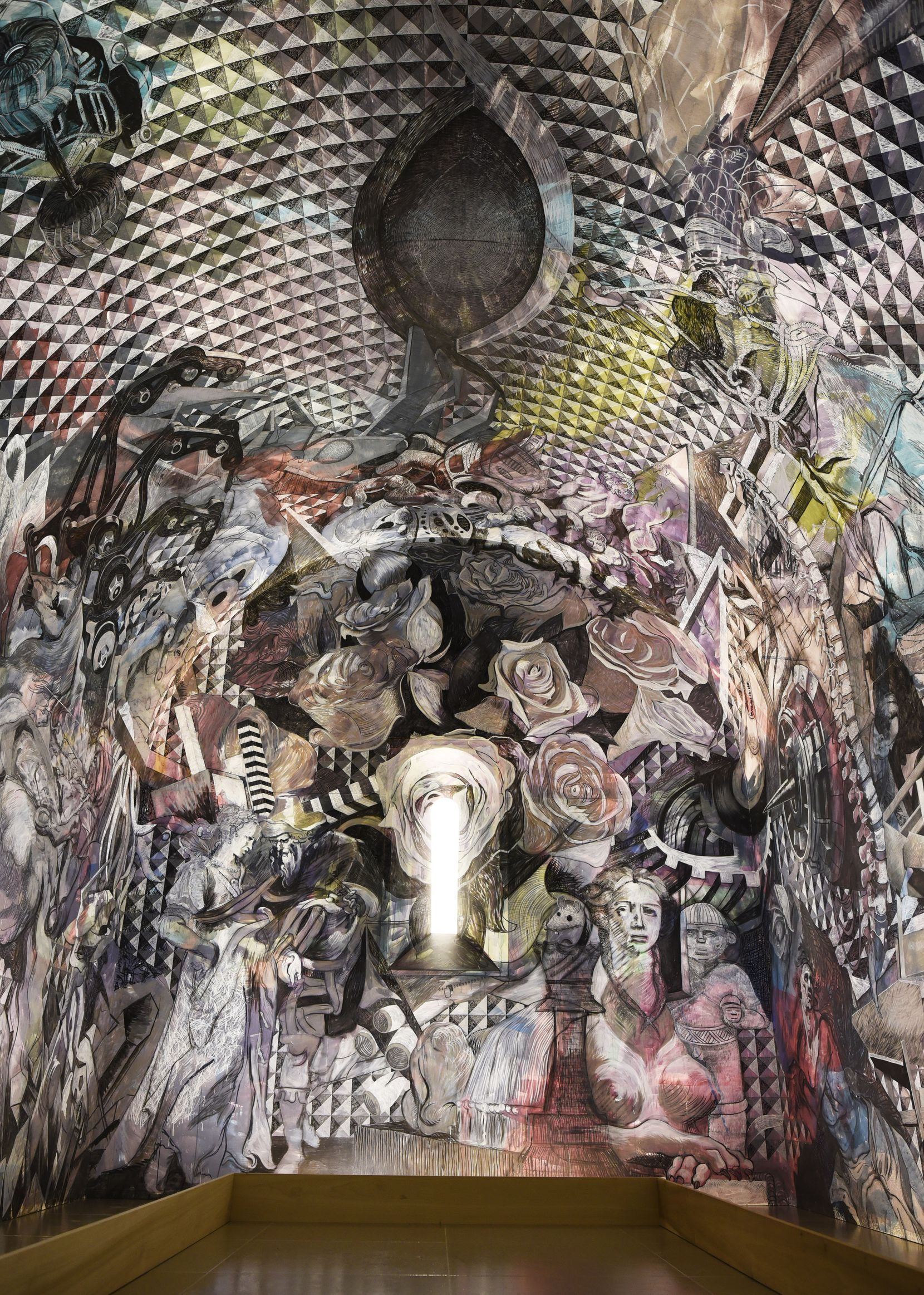 """The interior of Francisco Moreno's breathtaking """"Chapel"""" features a mind-bending mural that incorporates motifs from centuries of art history in one grand symphonic montage."""