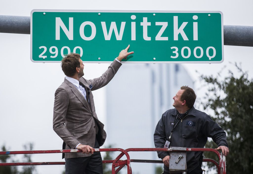 Retired Dallas Mavericks player Dirk Nowitzki unveiled a street sign with his name on Oct. 30, 2019, outside American Airlines Center in Dallas.