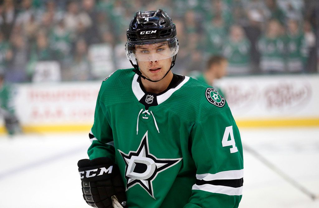 Dallas Stars defenseman Miro Heiskanen (4) is pictured during pregame warmups of their season-opening game at the American Airlines Center in Dallas, Thursday, October 4, 2018. The Stars faced the Arizona Coyotes. (Tom Fox/The Dallas Morning News)