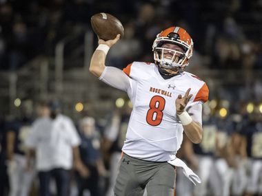 Rockwall junior quarterback Braedyn Locke (8) throws a pass during the second half of a high school football game against Jesuit on Friday, October 2, 2020 at Postell Stadium in Dallas. Rockwall won 60-38.