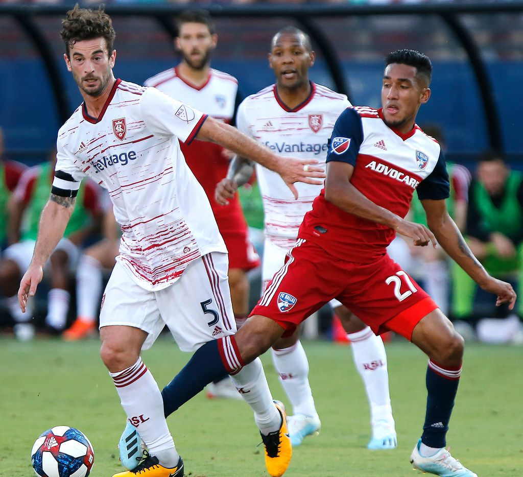 FC Dallas forward Jesus Ferreira (27) and Real Salt Lake midfielder Kyle Beckerman (5) get their legs tangled during the first half as FC Dallas hosted Real Salt Lake at Toyota Stadium in Frisco on Saturday, July 27, 2019.  (Stewart F. House/Special Contributor)
