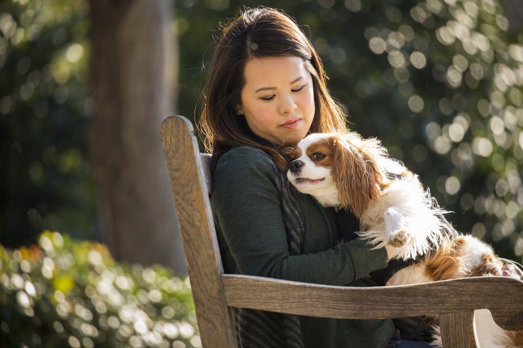Ebola survivor and nurse Nina Pham with her dog, Bentley, in 2015.