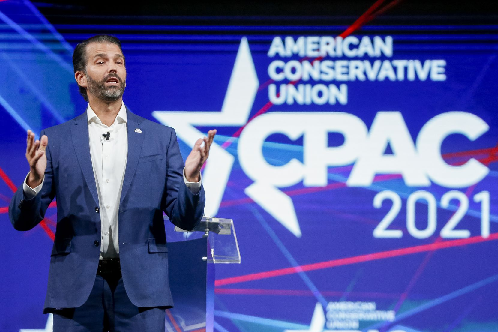 Donald Trump Jr. speaks at the Conservative Political Action Conference on Friday, July 9, 2021, in Dallas. (Elias Valverde II/The Dallas Morning News)