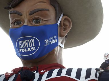 """In 2020, Big Tex wore a mask """"in solidarity with the community,"""" State Fair of Texas president Mitchell Glieber said. In 2021, he'll be bare faced."""