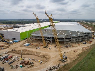Construction continued at the Tesla Gigafactory on May 13, 2021, in Austin.