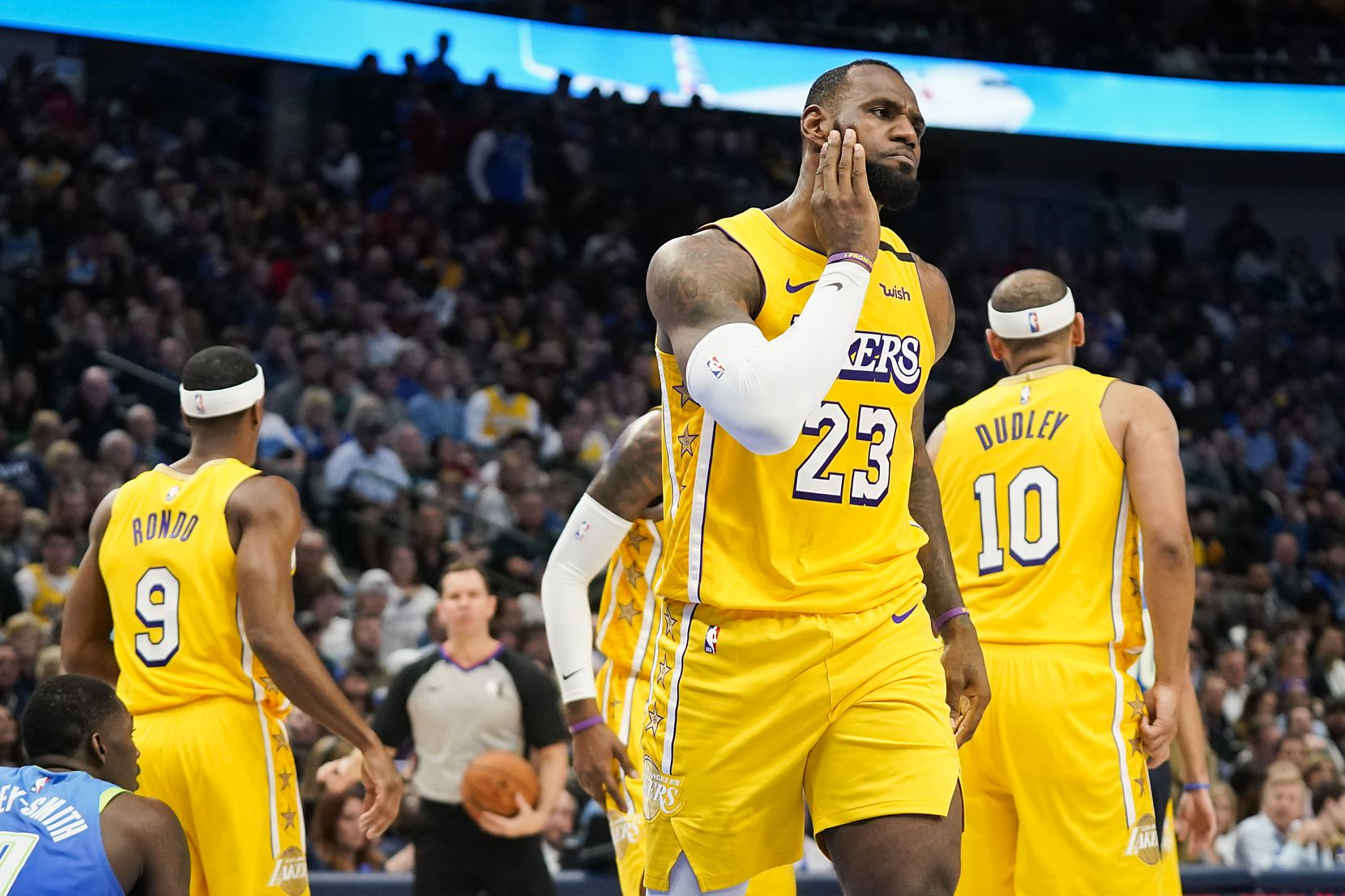 Los Angeles Lakers forward LeBron James reacts after being fouled during the second half of an NBA basketball game against the Dallas Mavericks at American Airlines Center on Friday, Jan. 10, 2020, in Dallas.