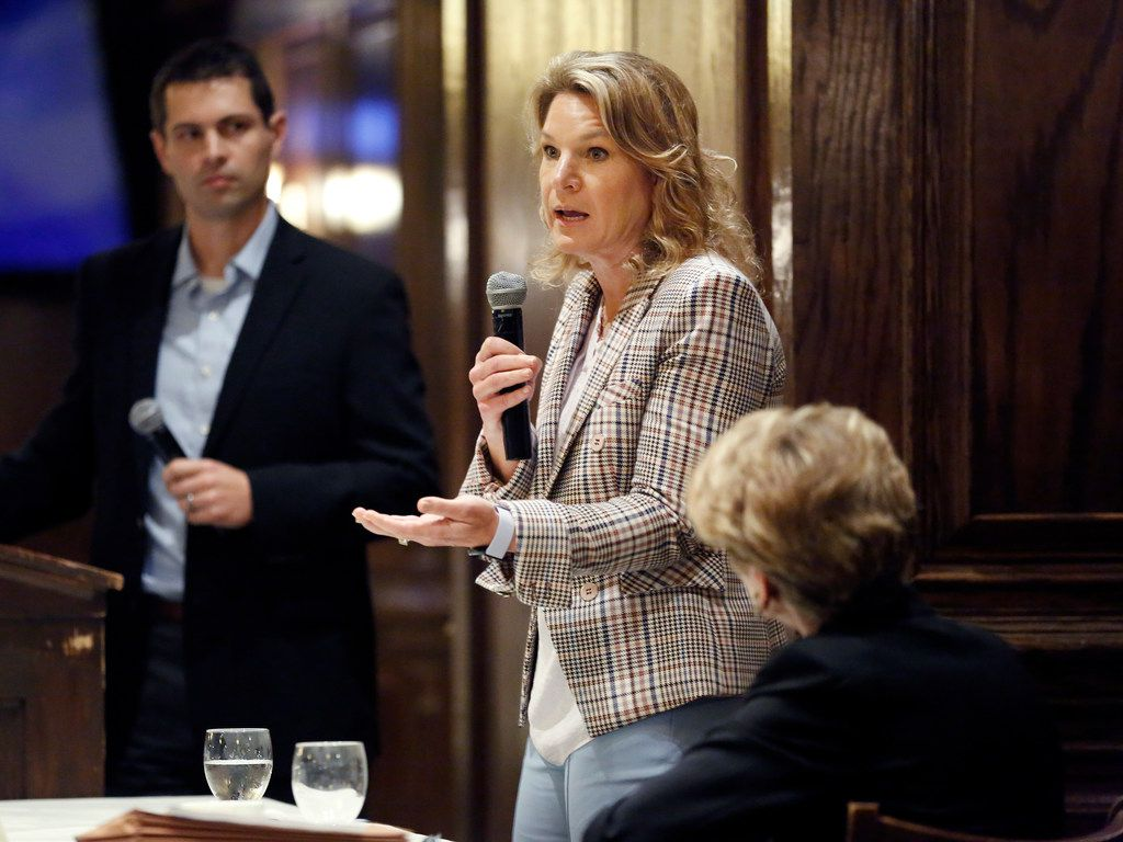 Dallas City Councilwoman Jennifer Staubach Gates (left) speaks during a debate hosted by Dallas Builders Association at Maggiano's Little Italy - NorthPark in Dallas, Thursday, April 4, 2019.