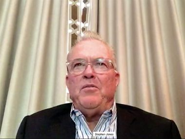 A screen shot of Dallas Cowboys executive vice president Stephen Jones as he talks during a virtual pre-draft news conference on Tuesday, April 21, 2020.