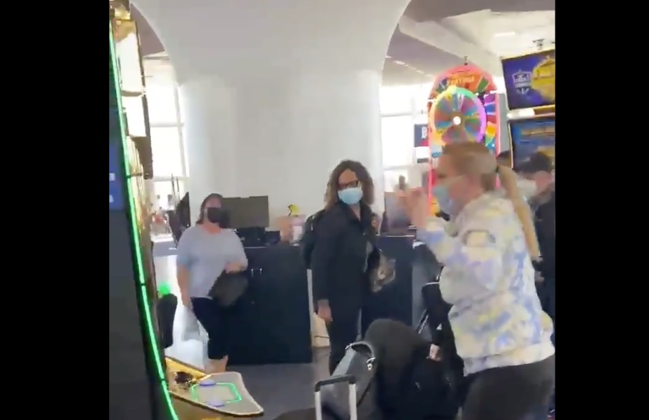A woman from Flower Mound won more than $300,000 on a slot machine while waiting for her plane at McCarran International Airport last week.