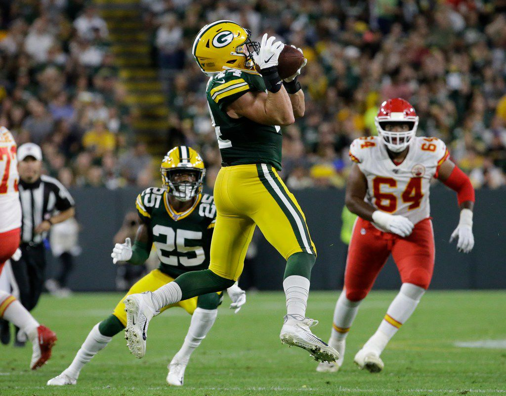 Green Bay Packers' Ty Summers intercepts a pass and returns it 74 yards for a touchdown during the first half of a preseason NFL football game against the Kansas City Chiefs Thursday, Aug. 29, 2019, in Green Bay, Wis. (AP Photo/Matt Ludtke)