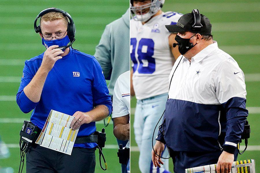 Giants offensive coordinator Jason Garrett (left) and Cowboys head coach Mike McCarthy.