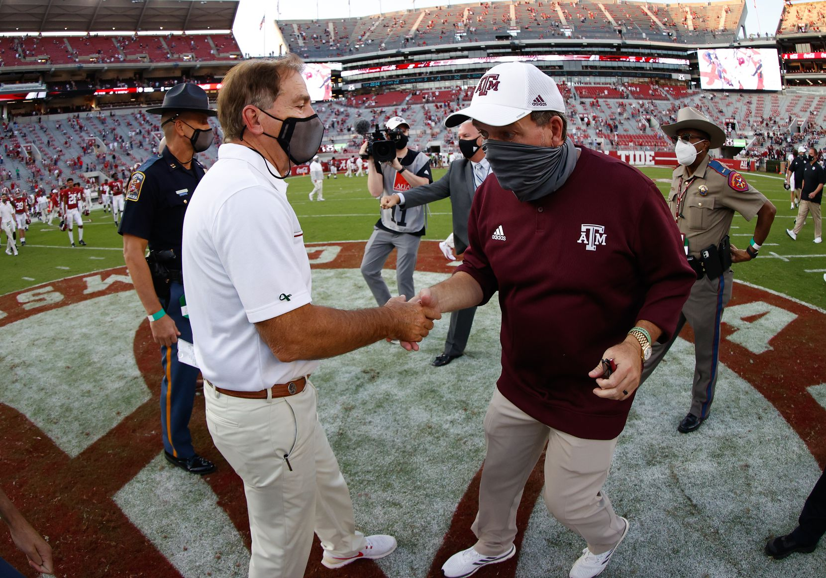 TUSCALOOSA, AL - OCTOBER 3: Nick Saban of the Alabama Crimson Tide shakes hands with Jimbo Fisher of the Texas A&M Aggies after the game on October 3, 2020 at Bryant-Denny Stadium in Tuscaloosa, Alabama. (Photo by UA Athletics/Collegiate Images/Getty Images)
