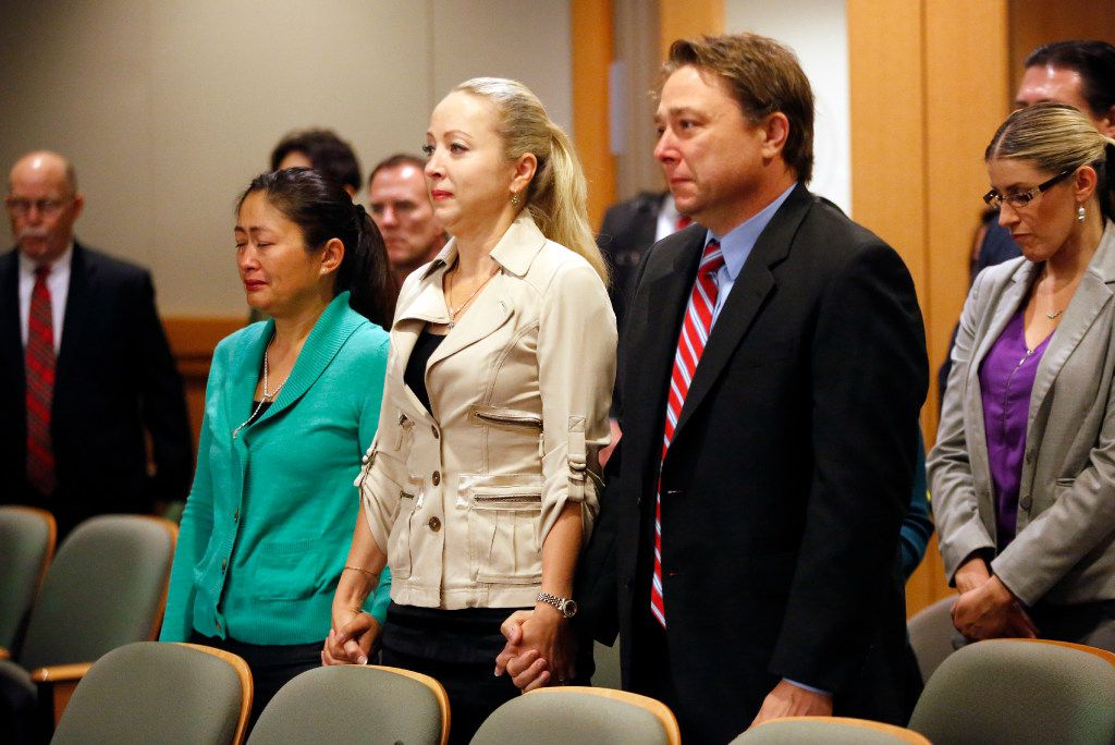 Friends of Anna Moses, Zharkynay Christian, Olga Mead, and boyfriend Michael Stodnick react to the guilty verdict handed by the jury to defendant Robert Moses of Frisco in the 219th District Court at the Collin County Courthouse in McKinney, Texas, Thursday, November 3, 2016. Moses was found guilty in killing his ex-wife Anna Moses. (Tom Fox/The Dallas Morning News)