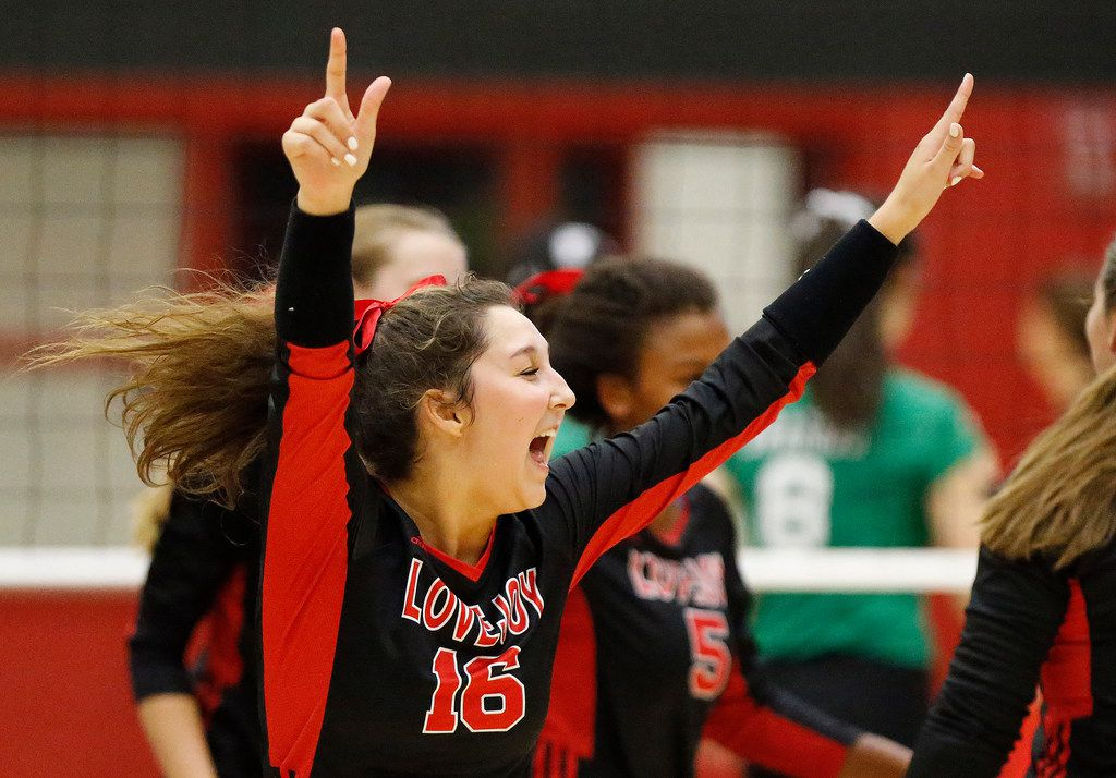 Lovejoy's Emma Johnson (16) celebrates a point during Tuesday's victory against Southlake Carroll.  (Stewart F. House/Special Contributor)