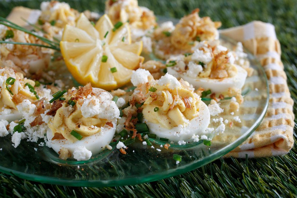 Crab and Goat Cheese Deviled Eggs