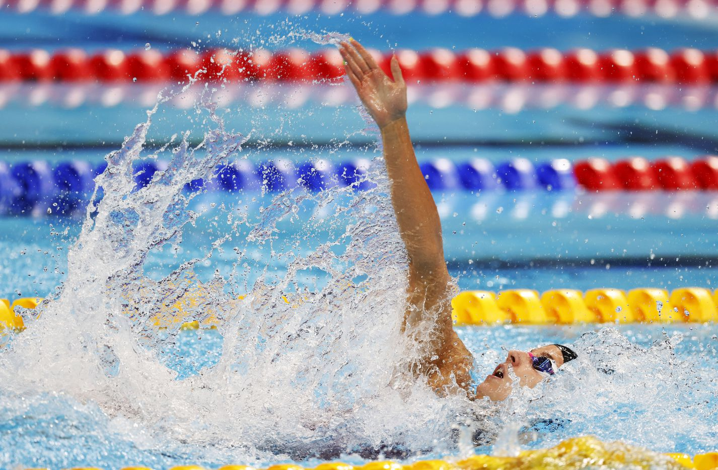 USA's Regan Smith competes in the women's 4x100 medley relay during the postponed 2020 Tokyo Olympics at Tokyo Aquatics Centre, on Sunday, August 1, 2021, in Tokyo, Japan. USA finished in second with a time of 3:51.60 to earn a silver medal. (Vernon Bryant/The Dallas Morning News)