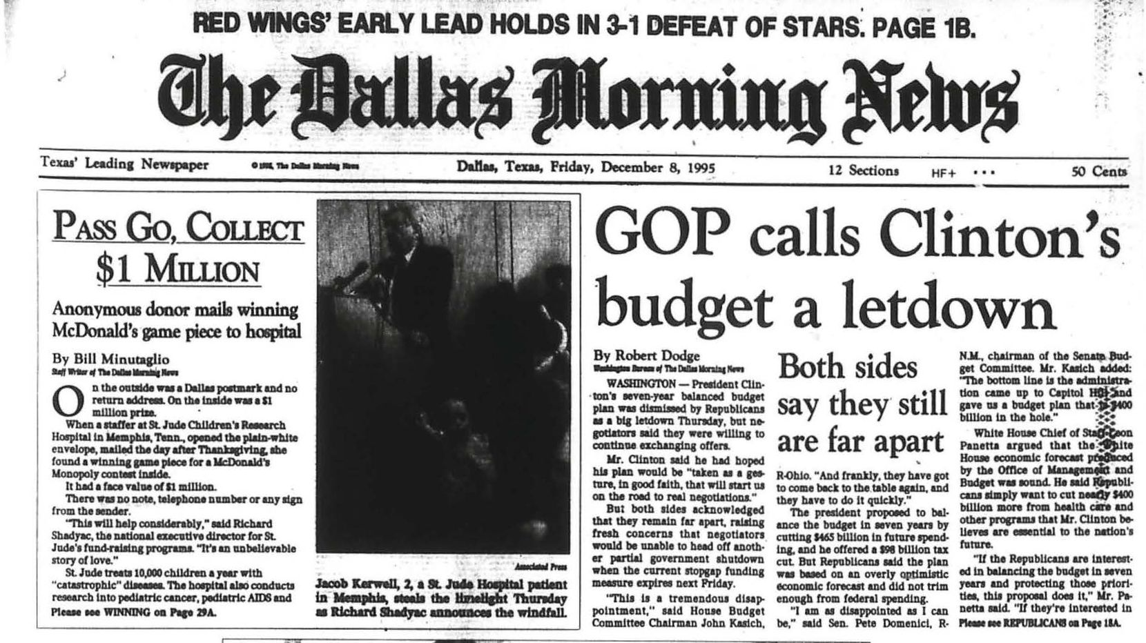 Snip of the front page on Dec. 8, 1995 with article about McDonald's winning game piece sent to St. Jude Hospital by Bill Minutaglio.
