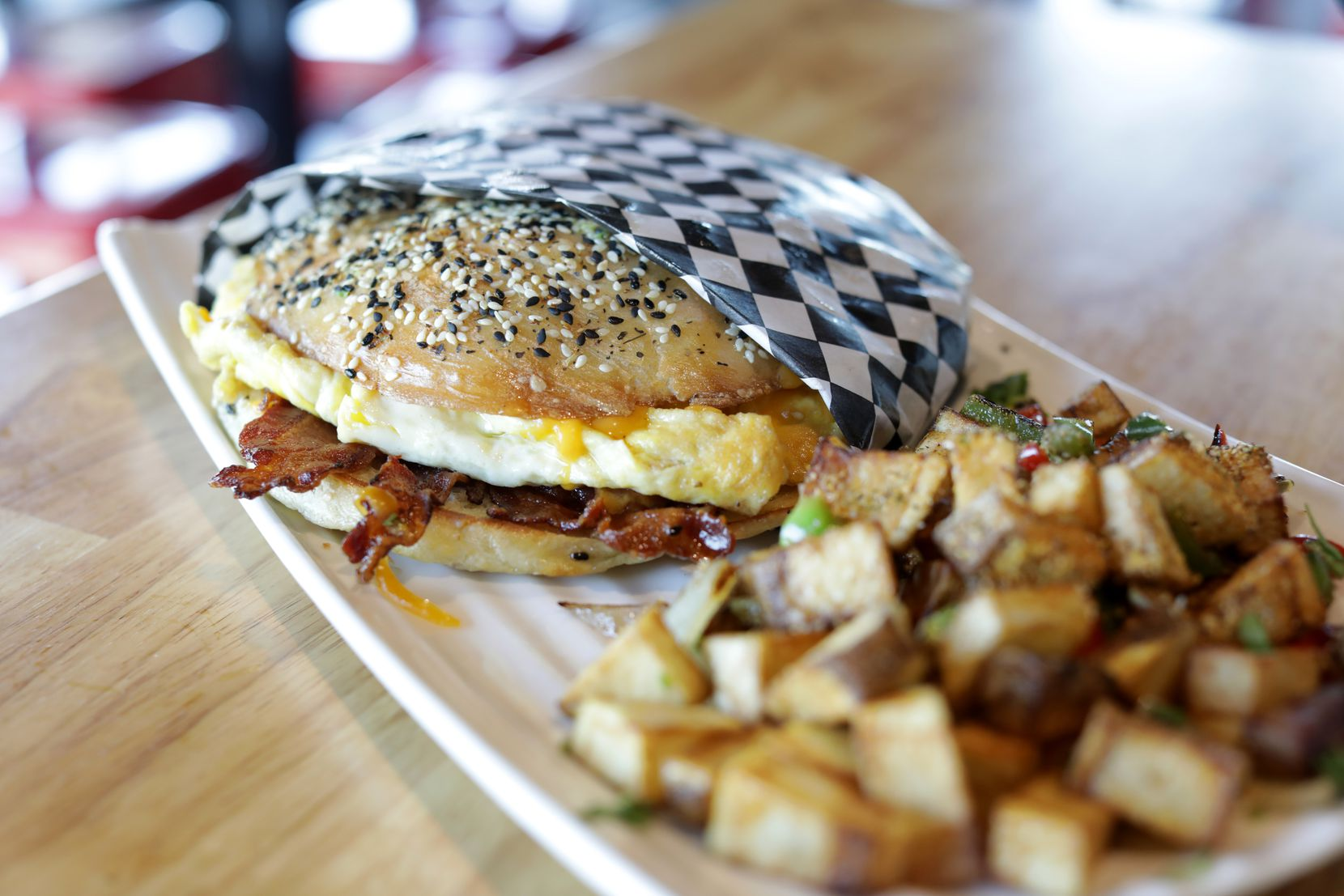 The Everything Bagel Sandwich at Cedar Creek Brewhouse and Eatery in Farmers Branch