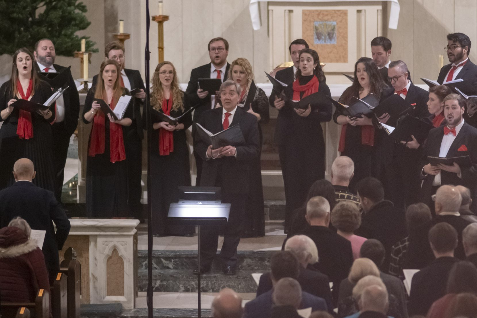 The Orpheus Chamber Singers perform their Christmas program at St. Thomas Aquinas Catholic Church on December 21, 2019 in Dallas, Texas.
