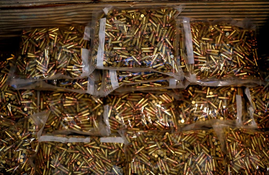 Bags of ammunition are stored at the American Precision Ammunition office in Mineral Wells.