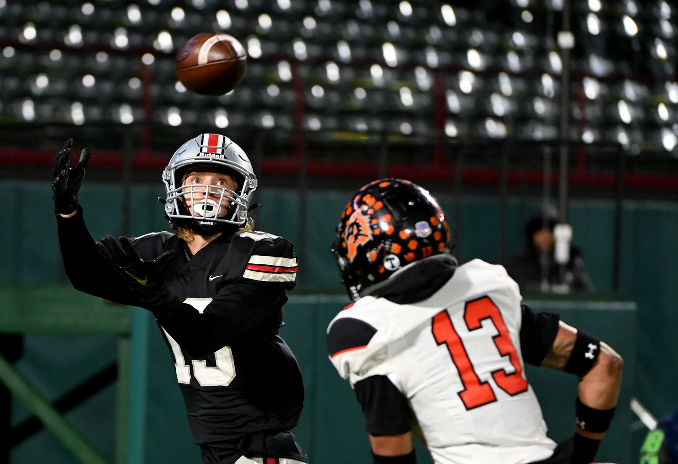 Lovejoy's Luke Mayfield catches a touchdown pass over Aledo's Logan Flinta in the second quarter of the Class 5A Division II Region II final high school football game between Aledo and Lovejoy, Friday, Jan. 1, 2021, in Arlington, Texas. (Matt Strasen/Special Contributor)