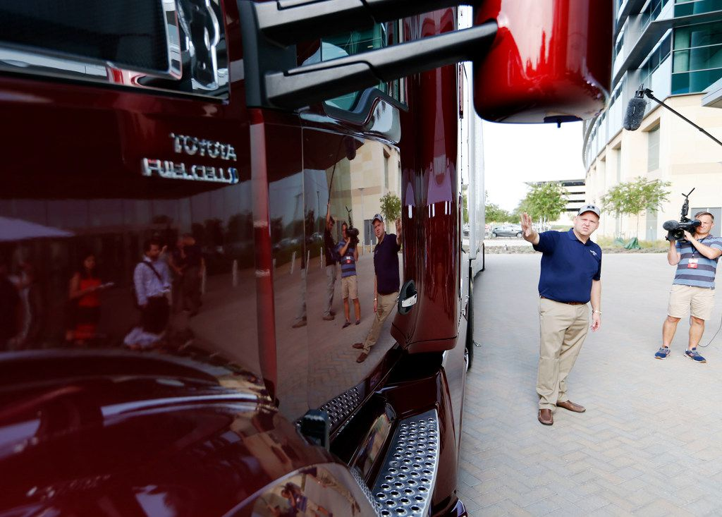 Chris Rovik, executive program manager R&D PDO - advanced fuel cell talks about a hydrogen fuel cell semi truck at Toyota Motors North America in Plano, Texas on Tuesday, August 21, 2018. (Vernon Bryant/The Dallas Morning News)