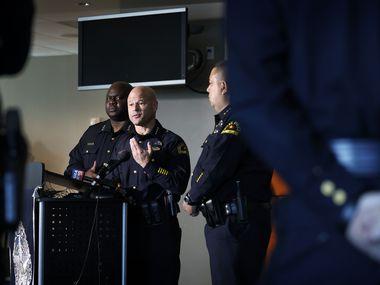 Dallas Police Chief Eddie García responds to media questions in Dallas on August 23, 2021.