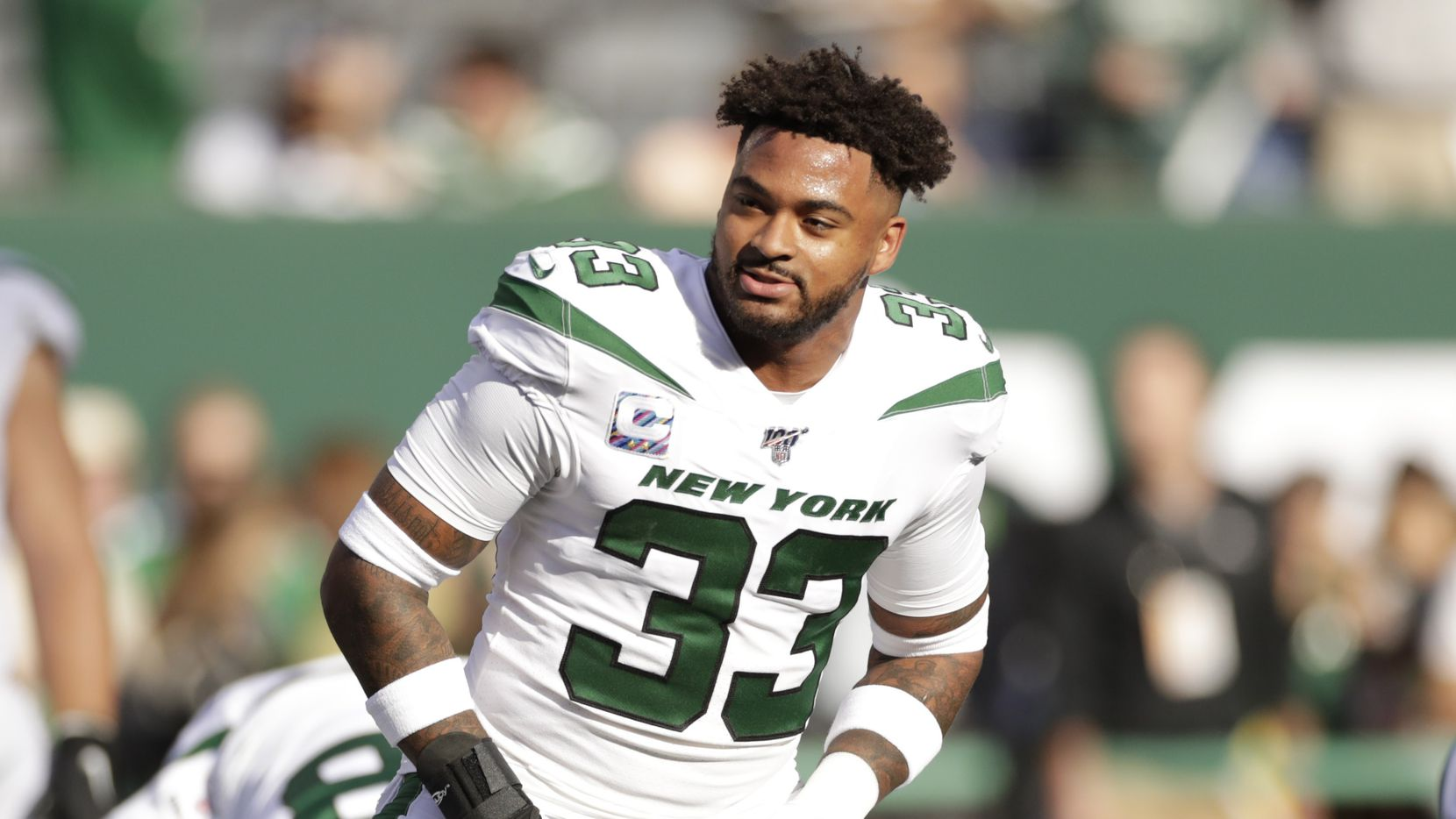 FILE - New York Jets safety Jamal Adams warms up before a game against the Dallas Cowboys on Sunday, Oct. 13, 2019, in East Rutherford, N.J. (AP Photo/Adam Hunger)