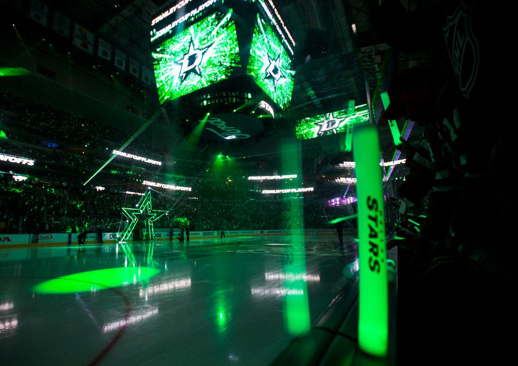 FILE - A laser light show before Game 6 of the first round of the Stanley Cup Playoffs between the Stars and Nashville Predators on Monday, April 22, 2019, at American Airlines Center in Dallas.
