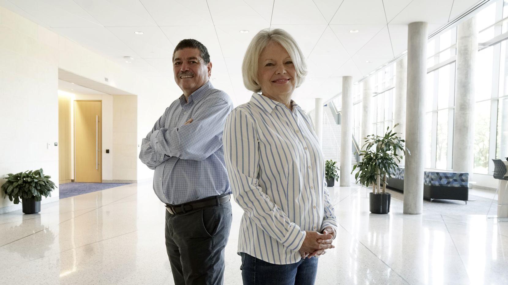 Quantum For All leaders Karen Jo Matsler and Ramón López on the UTA campus in Arlington on June 11, 2021.