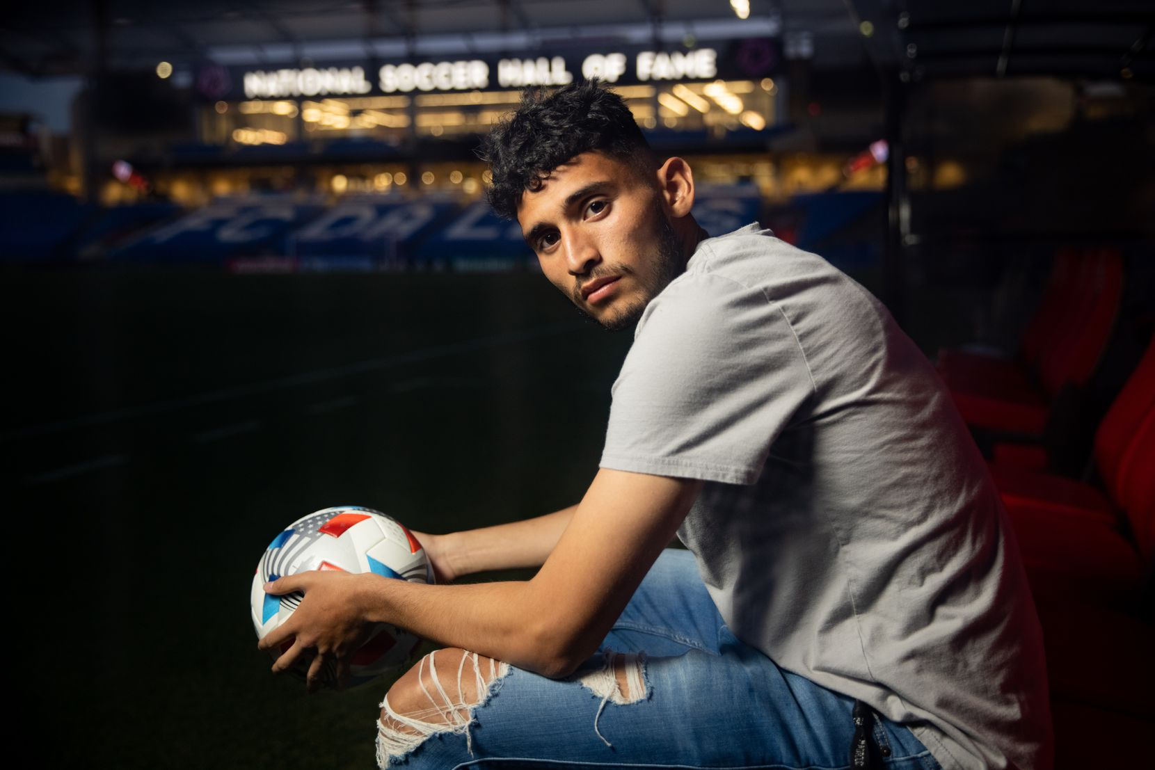 FC Dallas forward Ricardo Pepi poses for a photo at Toyota Stadium in Frisco on Wednesday, Apr. 7, 2021. (Juan Figueroa/ The Dallas Morning News)