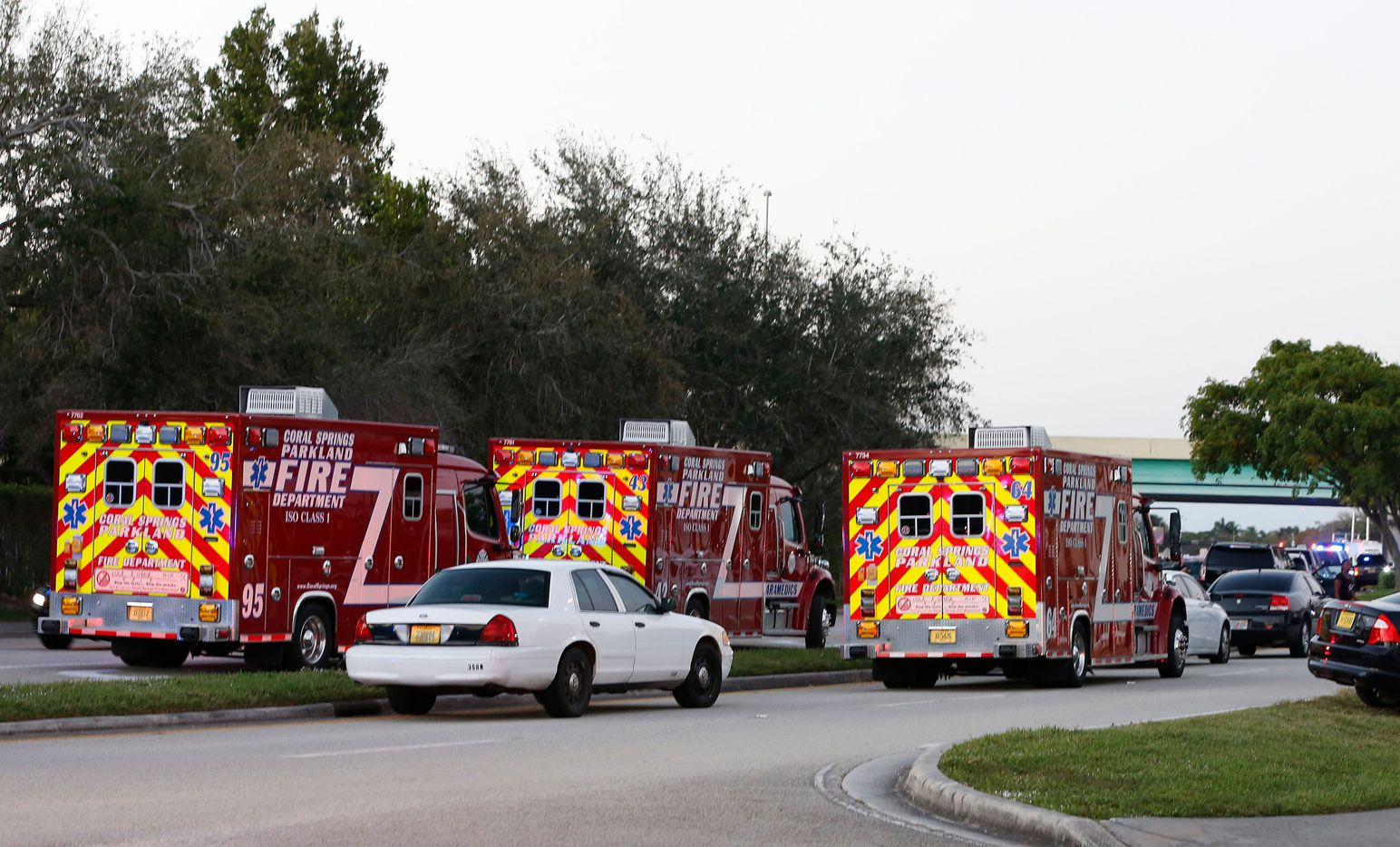 Fire Rescue vehicles block the road to Marjory Stoneman Douglas High School in Parkland, Florida, a city about 50 miles (80 kilometers) north of Miami on February 14, 2018 following a school shooting.  A former student armed with an AR-15 rifle opened fire at a Florida high school, killing at least 17 people, officials said, in a harrowing shooting spree that saw terrified students hiding in closets and under desks as they texted for help.