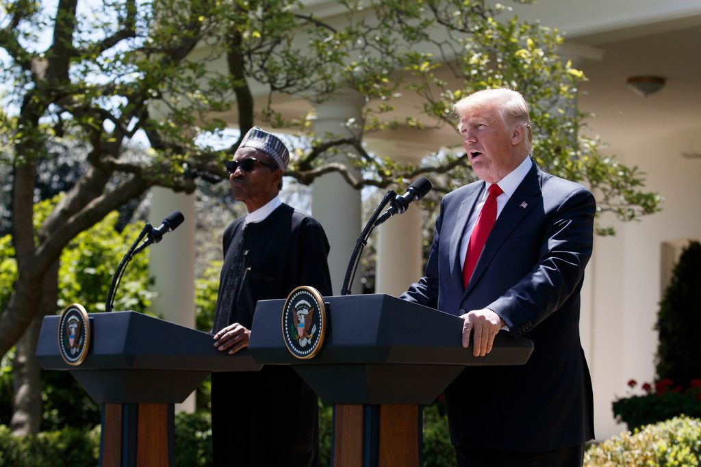 President Donald Trump and Nigerian President Muhammadu Buhari during a joint news conference in the Rose Garden at the White House on April 30, 2018. Trump urged other countries to support the North American bid to host the 2026 World Cup and implied there might be consequences for those who did not.