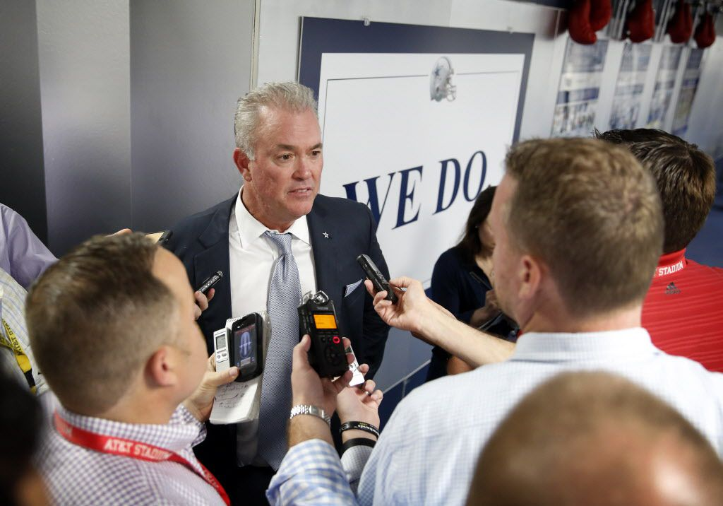 Dallas Cowboys Executive Vice President, CEO, and Director of Player Personnel Stephen Jones answers questions from the media after the teams first round pick of Ohio St. running back Ezekiel Elliott at Valley Ranch, Thursday, April 28, 2016. (Tom Fox/The Dallas Morning News)