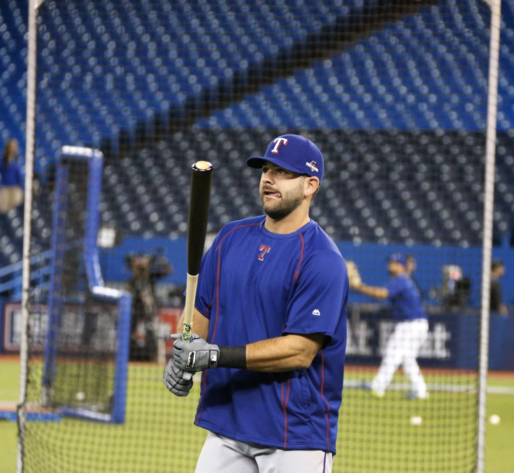 Texas Rangers first baseman Mitch Moreland (18) gets ready to take some swings in the cage before Game 5 of the ALDS between the Texas Rangers and the Toronto Blue Jays at Rogers Centre in Toronto, Canada on Wednesday, October 14, 2015. (Louis DeLuca/The Dallas Morning News)