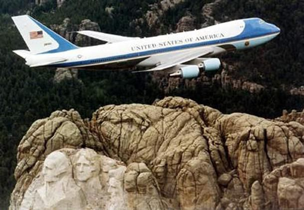 Air Force One flies over Mount Rushmore in this 2005 file photo.