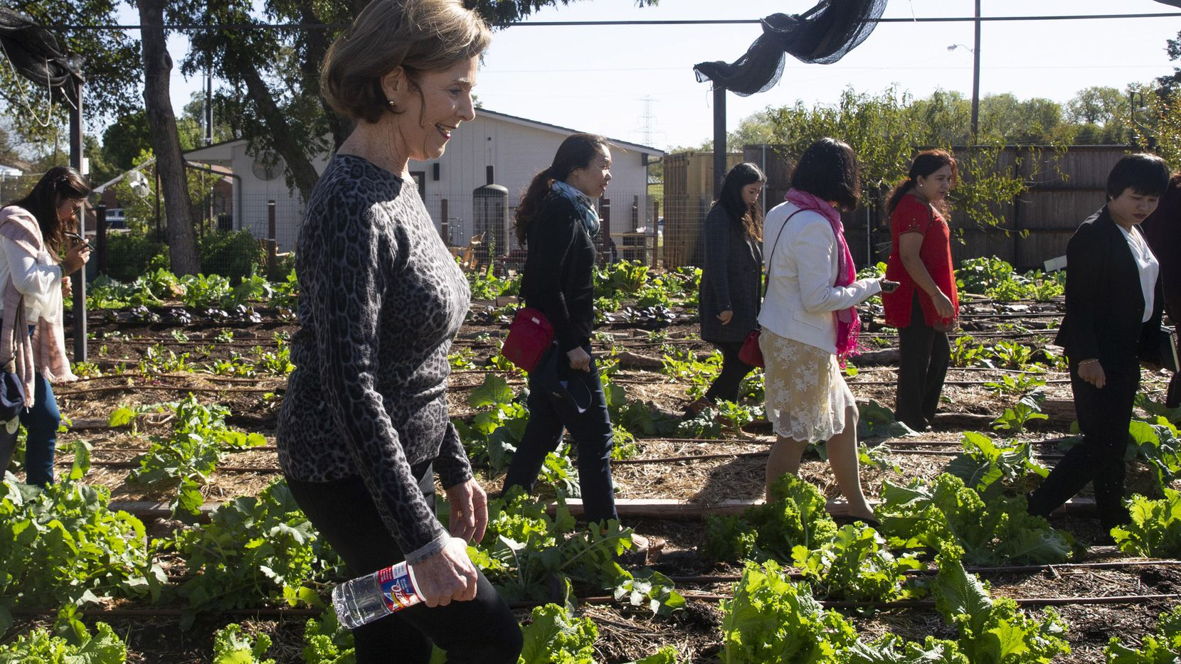 Former First Lady Laura Bush tours Bonton Farms in south Dallas with Burmese scholars on Oct. 21, 2019. The scholars comprise the fourth class of the Bush Institute Burmese Democracy Advocates for Liberty and Leadership, and they learned about the operating model of Bonton Farms.  (Lynda M. Gonzalez/The Dallas Morning News)