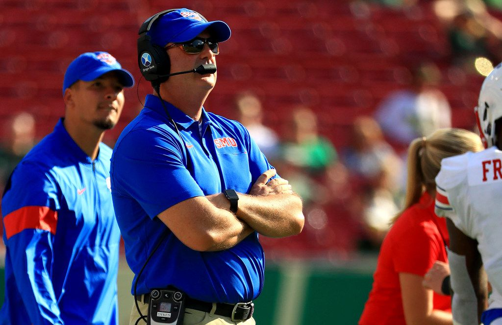 FILE - SMU head coach Sonny Dykes looks on during a game against South Florida at Raymond James Stadium on Sept. 28, 2019, in Tampa, Fla. (Photo by Mike Ehrmann/Getty Images)