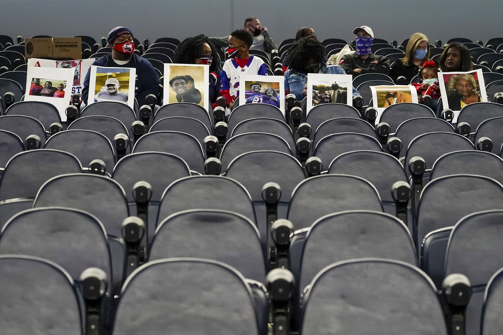 Denton Ryan fans wait for their team to take the field to face Cedar Park in the Class 5A Division I state football championship game at AT&T Stadium on Friday, Jan. 15, 2021, in Arlington, Texas. (Smiley N. Pool/The Dallas Morning News)