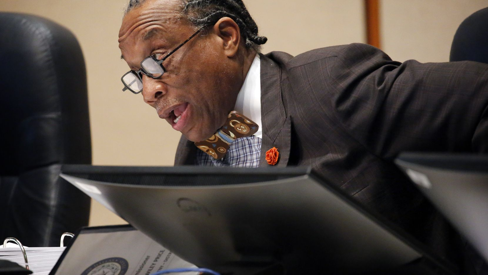 Dallas County Commissioner John Wiley Price at a Feb. 3 meeting of the Dallas County commissioners court. (Tom Fox/The Dallas Morning News)