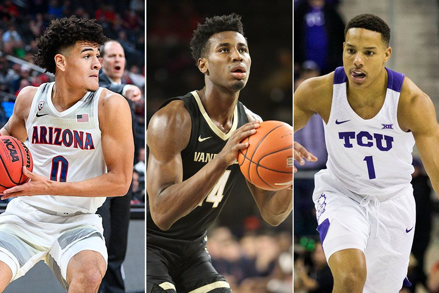 Mavericks 2020 draft targets from left: Arizona guard Josh Green, Vanderbilt wing Aaron Nesmith and TCU guard Desmond Bane. (Photo credit from left: Icon Sportswire via Getty Images; Icon Sportswire via Getty Images; The Dallas Morning News)