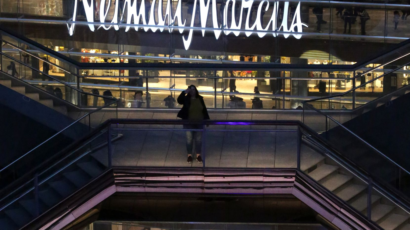 The Neiman Marcus store sign is visible as people gather inside The Vessel, at the opening of Hudson Yards in Manhattan, New York on Friday, March 15, 2019. (Yana Paskova/Special Contributor)Assignment ID: 10044130A