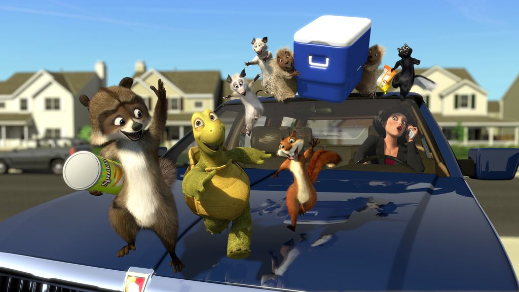"This undated handout image from ""Over the Hedge"" by DreamWorks shows RJ the raccoon (voiced by Bruce Willis), Vern the turtle (Garry Shandling), Hammy the squirrel (Steve Carell), the possums, Ozzie (William Shatner) and his daughter, Heather (Arvil Lavigne), the porcupine couple,  Lou (Eugene Levy) and Penny (Catherine O'Hara), Stella the skunk (Wanda Sykes) and Gladys (Allison Janney)."