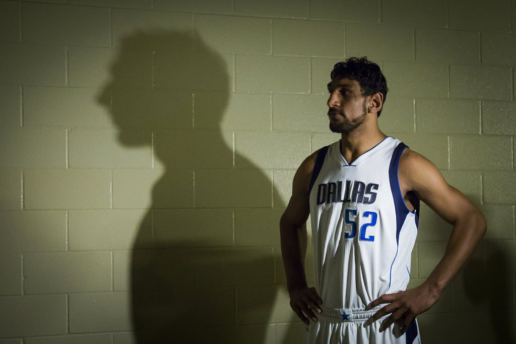 Dallas Mavericks draft pick Satnam Singh waits to have his picture taken during a team photo  shoot after the introduction of their 2015 draft picks during a press conference at American Airlines Center on Wednesday, July 8, 2015, in Dallas. (Smiley N. Pool/The Dallas Morning News)
