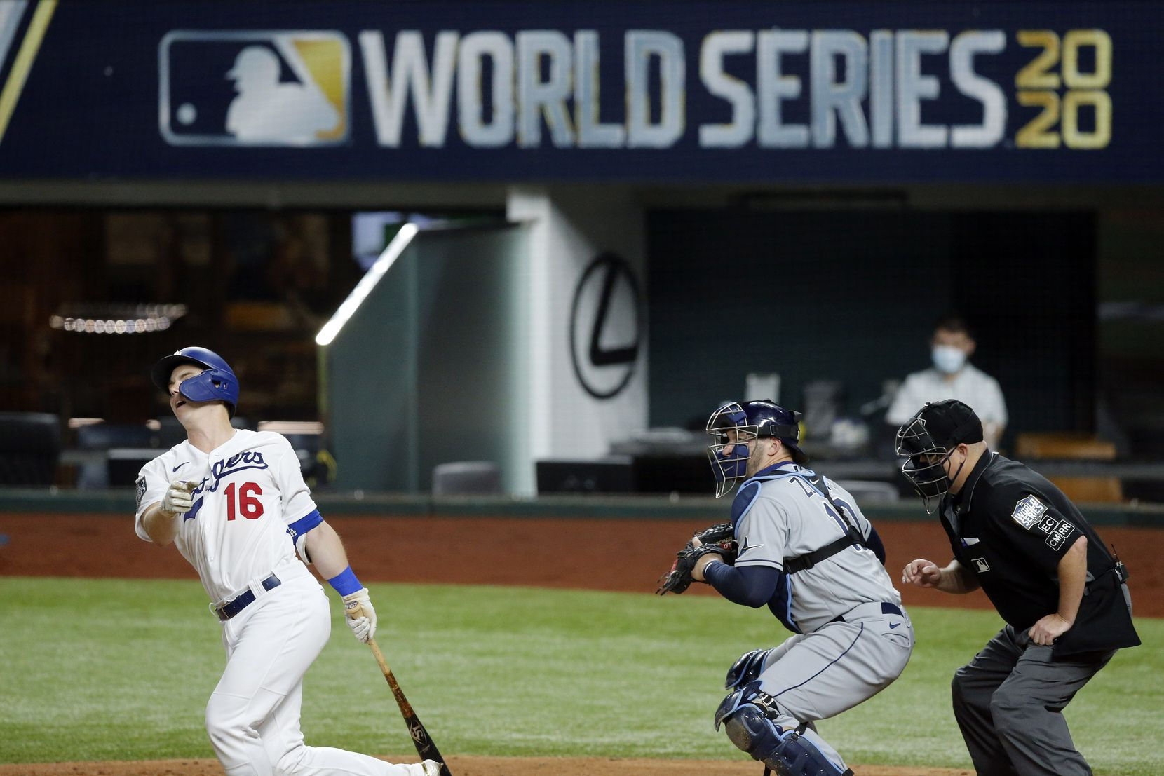 Los Angeles Dodgers designated hitter Will Smith (16) strikes out to end the fourth inning in Game 2 of the World Series at Globe Life Field in Arlington, Wednesday, October 21, 2020. Tampa Bay Rays starting pitcher Blake Snell (4) struck him out. (Tom Fox/The Dallas Morning News)